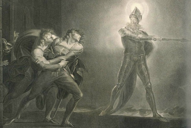 'Hamlet, Horatio, Marcellus and the ghost' (1796), gravura de Robert Thew, a partir de Henry Fuseli